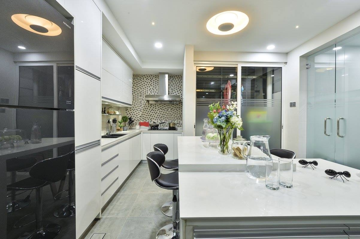 kitchen design malaysia, white theme kitchen