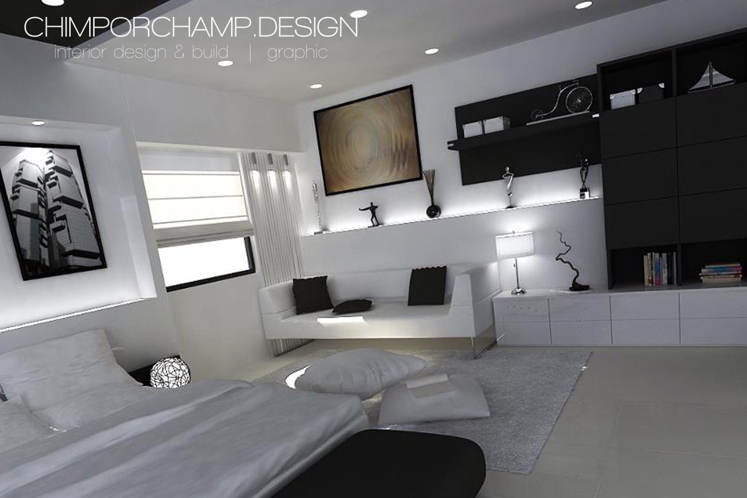 7 Small Bedroom Designs By Professional Experts: Random Bedroom Design By Chimporchamp Interior Design